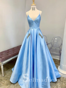 A-line Blue Spaghetti Straps Affordable Prom Dresses With Pocket Long Formal Evening Gowns SED146