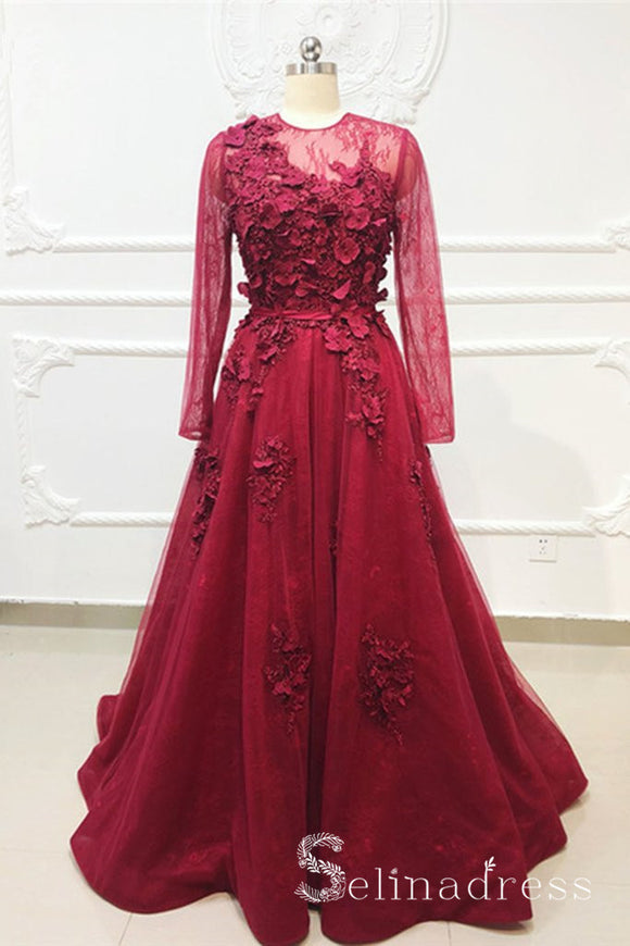 A-line Burgundy Lace Applique Long Prom Dress Elegant Evening Gown With Sleeve SED060|Selinadress