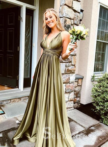 A-line Cheap Simple V neck Long Prom Dress Flowy Evening Dress SED138|Selinadress