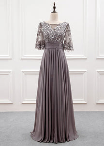 A-line Chiffon Half Sleeves Cheap Mother of the Bride Dresses With Sequins MTH002|Selinadress