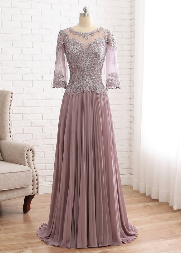 A-line Chiffon Scoop Cheap Mother Of The Bride Dress With Beaded Lace Appliques MTH001|Selinadress