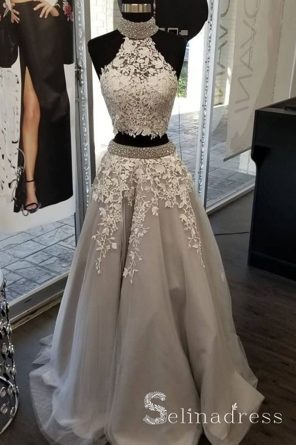 A-line High Neck Gray Long Prom Dresses Lace Beaded Modest Formal Evening Dresses SED042|Selinadress