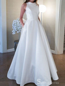 A-line High Neck Wedding Dresses Simple Floor Length White Bridal Gown SEW044