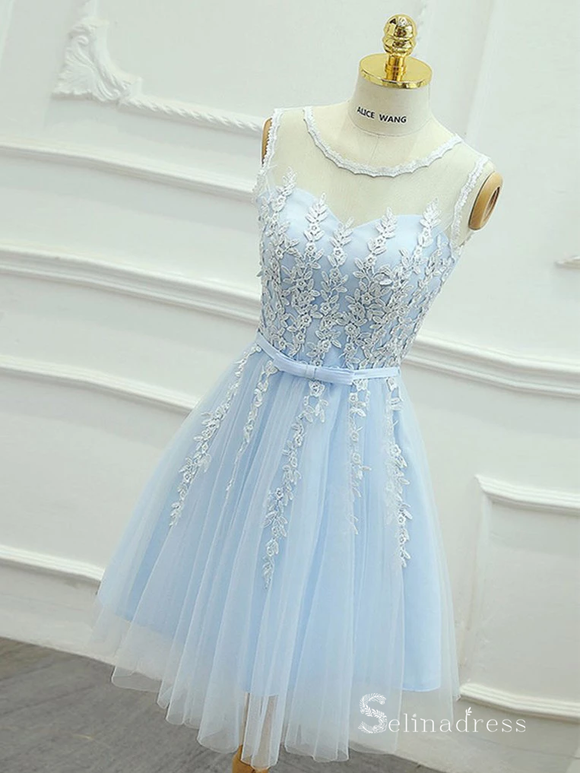 A-line Light Sky Blue Cute Homecoming Dress Short Prom Dresses #MHL066|Selinadress