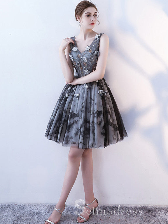 A-line Little Black V neck Charming Short Ptom Dress Homecoming Dresses MHL037