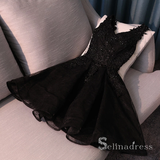 A-line Little Black V neck Homecoming Dress Short Prom Dress Cocktail Dresses MHL052|Selinadress