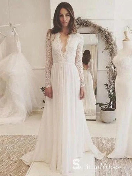 A-line Long Sleeve Wedding Dresses V-neck Elegant Lace Bridal Gown SEW028