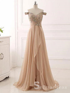 A-line Off-the-shoulder Long Prom Dress Vintage Beaded Formal Dress Ruffles Evening Dress SED032