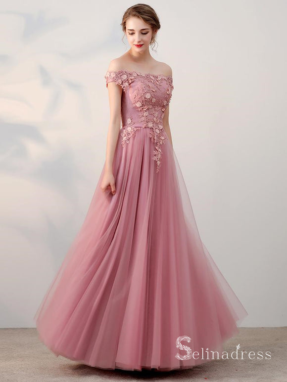 A-line Off-the-shoulder Pink Vintage Long Prom Dresses Applique Long Formal Gowns SED010