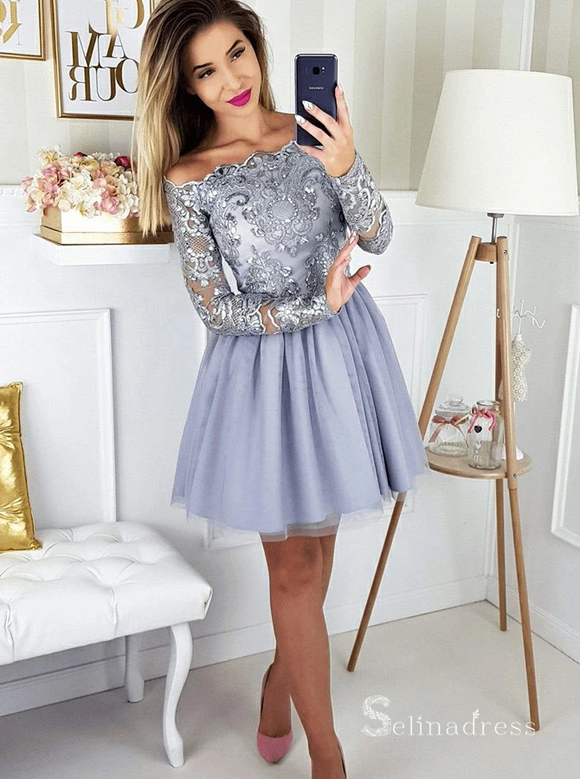 A-line Off-the-shoulder Short Prom Dress Long Sleeve Beautiful Homecoming Dresses MHL044|Selinadress