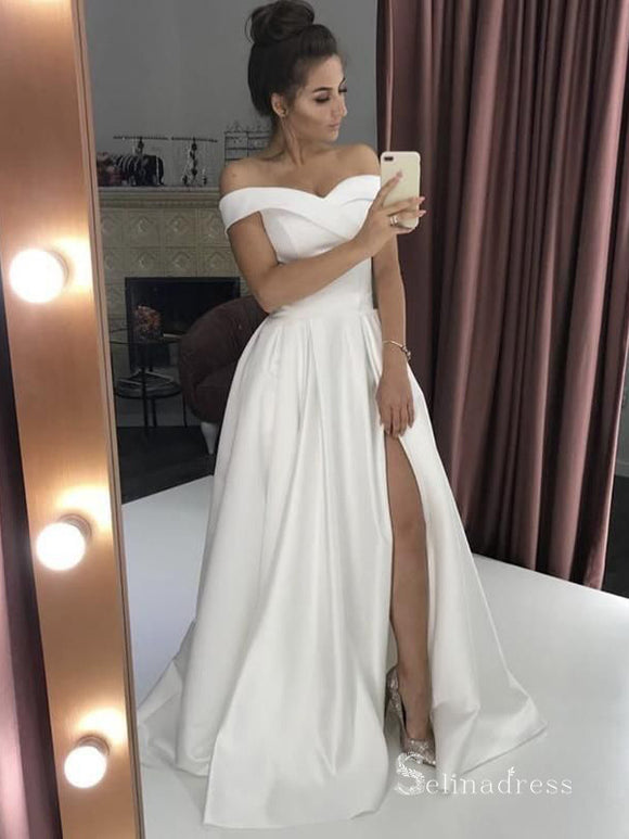 A-line Off-the-shoulder Thigh Split Satin Wedding Dress Cheap Bridal Gowns # SDL007