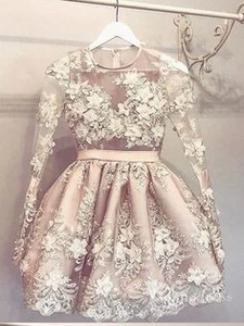 A-Line  Pearl Pink Cute Homecoming Dress Long Sleeve Short Prom Dresses #MHL056|Selinadress
