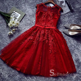 A-Line Scoop Burgundy Applique Lace Short Prom Dress Homecoming Dress MHL051|Selinadress