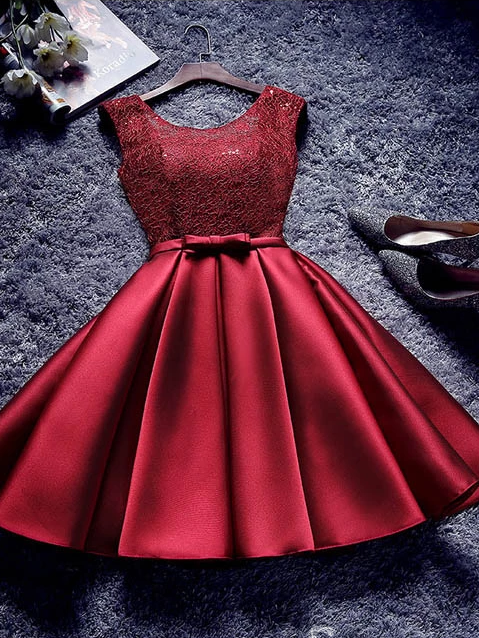 A line Scoop Burgundy Homecoming Dresses Cheap Short Prom Dress #MHL060|Selinadress