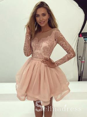 A-line Scoop Prom Dress With Sleeve Lace Beautiful Homecoming Dresses HML015|Selinadress