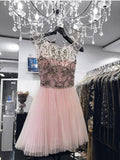 A-line Scoop Short Prom Dresses Juniors Homecoming Dresses MHL026