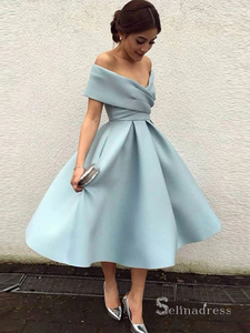 A-line Simple Homecoming Dress Off-the-shoulder Satin Short Prom Dress MHL047|Selinadress