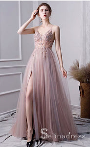 A-line Spaghetti Straps Beaded Long Prom Dress Dust Pink Gorgeous Formal Pageant Evening Dress SED049