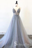 A-line Spaghetti Straps Beaded Long Prom Dress Silver Gorgeous Formal Pageant Evening Dress SED049B