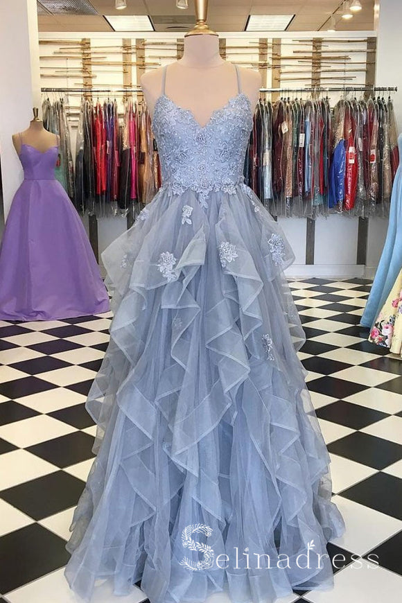 A-line Spaghetti Straps Blue Long Prom Dress Lace Formal Dresses Evening Gowns SED082