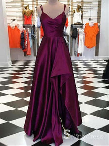 A-line Spaghetti Straps Cheap Simple Long Prom Dress Burgundy Split Formal Gowns SED019|Selinadress