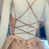A-line Spaghetti Straps Dusty Pink Prom Dress Applique Long Formal Evening Dresses #SED174|Selinadress