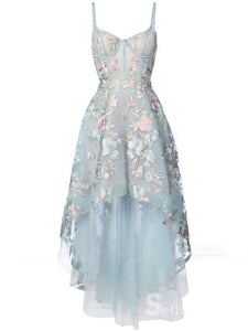 A-line Spaghetti Straps Light Sky Blue High Low Prom Dresses Lace Formal Gowns SED017