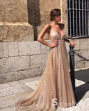 A-line Spaghetti Straps Long Prom Dress Sparkly Elegant Backless Formal Gowns SED015