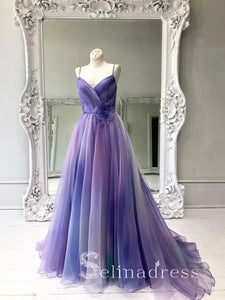 A-line Spaghetti Straps Ombre Prom Dresses Long Formal Gowns Colorful Evening Dress With Ruffles SED149|Selinadress