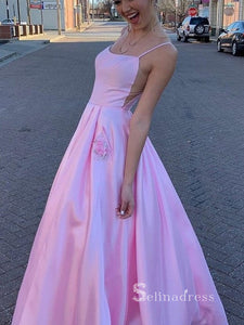A-line Spaghetti Straps Satin Prom Dresses Long Pink Formal Evening Gowns CBD021