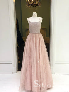 A- Line Spaghetti Straps Sparkly Long Prom Dresses Pink Beaded Quinceanera Formal Dress SED097