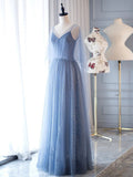 A Line Sparkly Long Prom Dresses V Neck Dusty Blue Long Evening Dress #SED192 | Selinadress