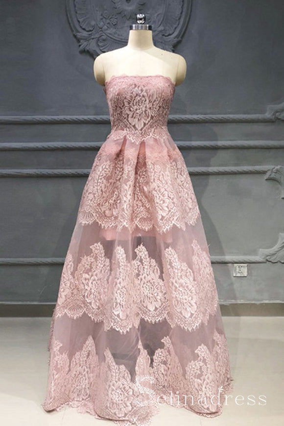 A-line Strapless Pink Lace Boho Floor Length Long Prom Dresses Unique Party Dress SED058