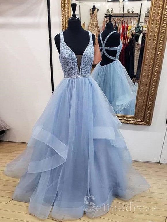 A-line Straps Blue  Lace Prom Dress Gatsby Long Evening Dresses #SED171