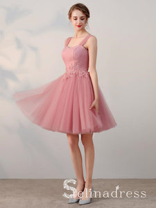 A-line Straps Cheap Pink Short Prom Dress Simple Lace Homecoming Dress HML012|Selinadress