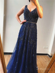 A-line Straps Long Sparkly Glitter Luxury Prom Dress Evening Formal Gown SC037A-line Straps Long Sparkly Glitter Luxury Prom Dress Evening Formal Gown SC037
