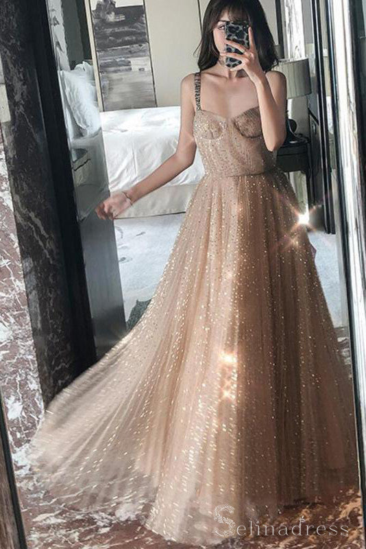 A-line Straps Sparkly Long Prom Dress African Long Formal Evening Dresses #SED177|Selinadress