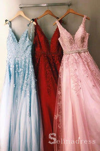 A-line Stylish Multi-color Tulle Lace Cheap Modest Long Prom Dress Formal Evening Dress SED043