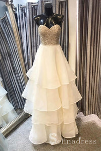 A-line Sweetheart Beaded Long Prom Dresses With Pearl Ivory Strapless Formal Dresses SED037