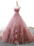 A-line Sweetheart Dust Pink Lace Long Prom Dress Princess Quinceanera SED035