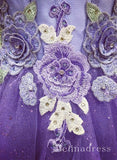 A-line Sweetheart Grape Long Prom Dresses With Floral Lace Formal Evening Gowns  SED080