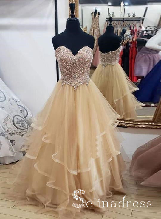 A-line Sweetheart Long Prom Dresses Beaded Princess Sparkly Formal Evening Gowns SED072|Selinadress