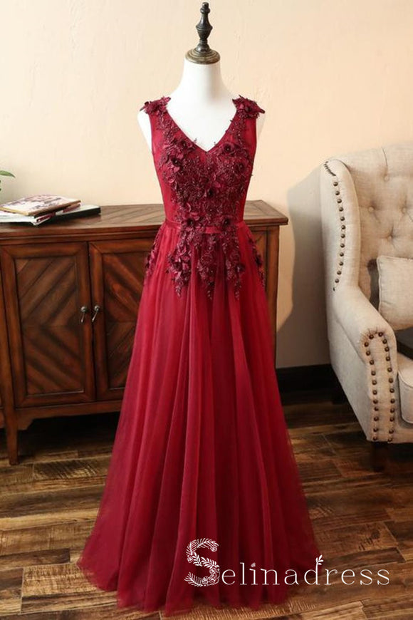 A-line Tulle V Neck Burgundy Long Prom Dress Senior Formal Dress With Applique SED090|Selinadress