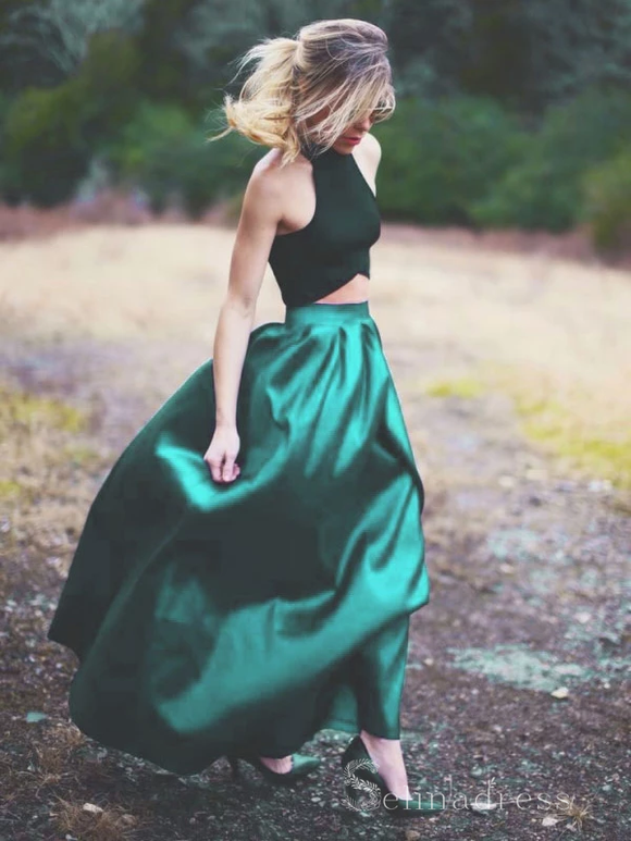 A-line Two Piece Long Prom Dresses Hunter Green Prom Dress Satin Evening Dress #SED188 | Selinadress
