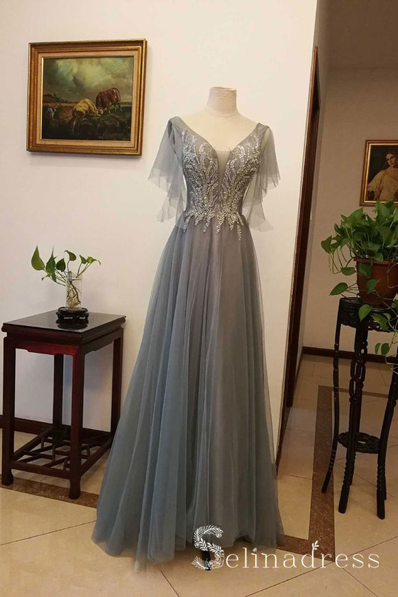 A-line V neck Beaded Long Prom Dresses Gray Sparkly Evening Gowns Formal Dresses SED039