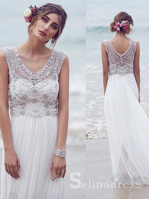 A-line V-neck Beautiful Beach Wedding Dresses Chiffon Short Train Sexy Bridal Gown SEW010|Selinadress