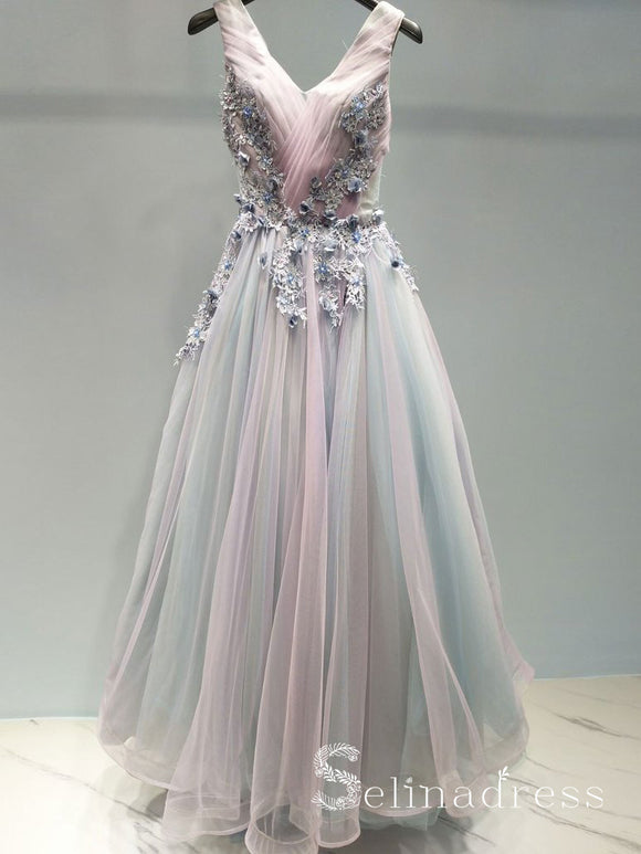 A-line V neck Beautiful Prom Dress Applique Ombre Tulle Long Prom Dresses Evening Dress SED103