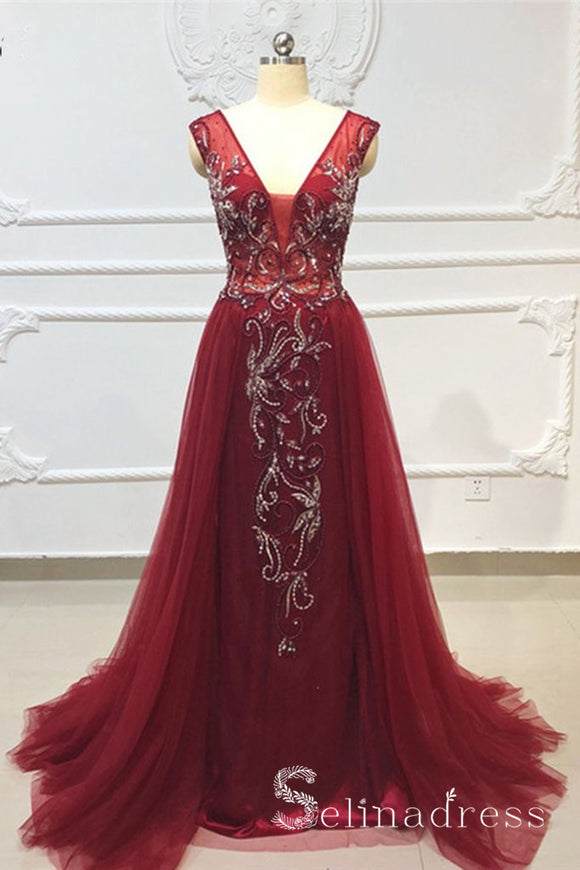 A-line V neck Crystal Beaded Open Back Gorgeous Burgundy Long Evening Dresses SED056|Selinadress
