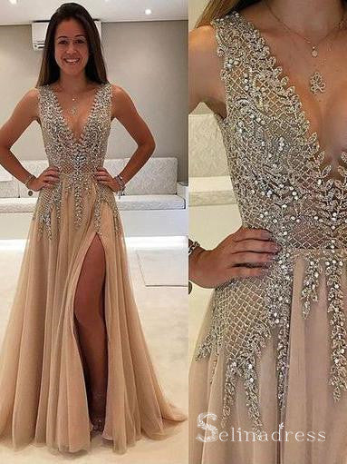 A-line V-neck Gorgeous Long Prom Dress Thigh Split Sparkly Formal Gowns SED024