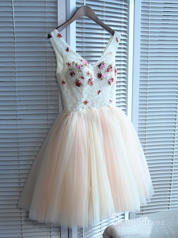 A-line V-neck Homecoming Dress Short/Mini Prom Drsess Juniors Dresses MHL043|Selinadress